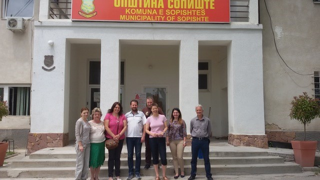 The WECF Team outside (Sopishte Municipality) in Macedonia where they held a training with the local authorities and different stakeholders in terms of Ecosan and sustainable development